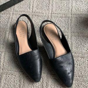 Black flat closed toe sandal